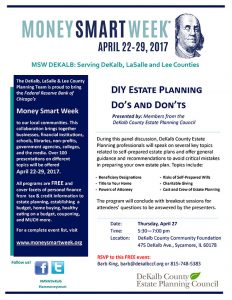 DeKalb County Community Foundation, Money Smart Week, DIY Estate Planning Do's and Don'ts